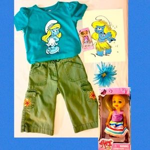 Smurfette tshirt with pants and doll 4/5T